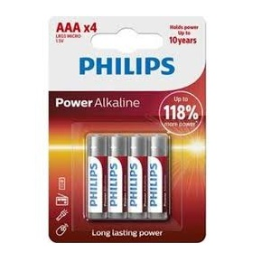 PILAS ALCALINAS PHILIPS AAA BLISTER X 4
